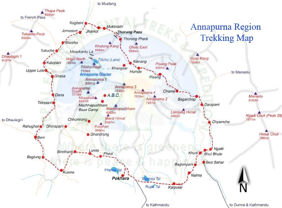 Upper Mustang Trek via Ananpurna Circuit Map