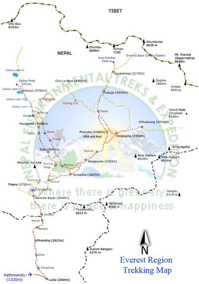 Everest Base Camp - Gokyo Lake Trek Map