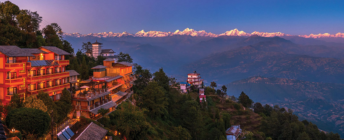 Mesmerizing view of the Himalayan range seen from Hotel Countryvilla, Nagarkot.