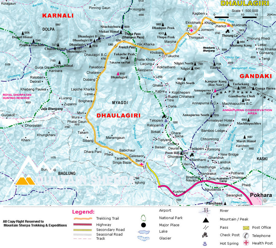 Dhaulagiri Trek Map