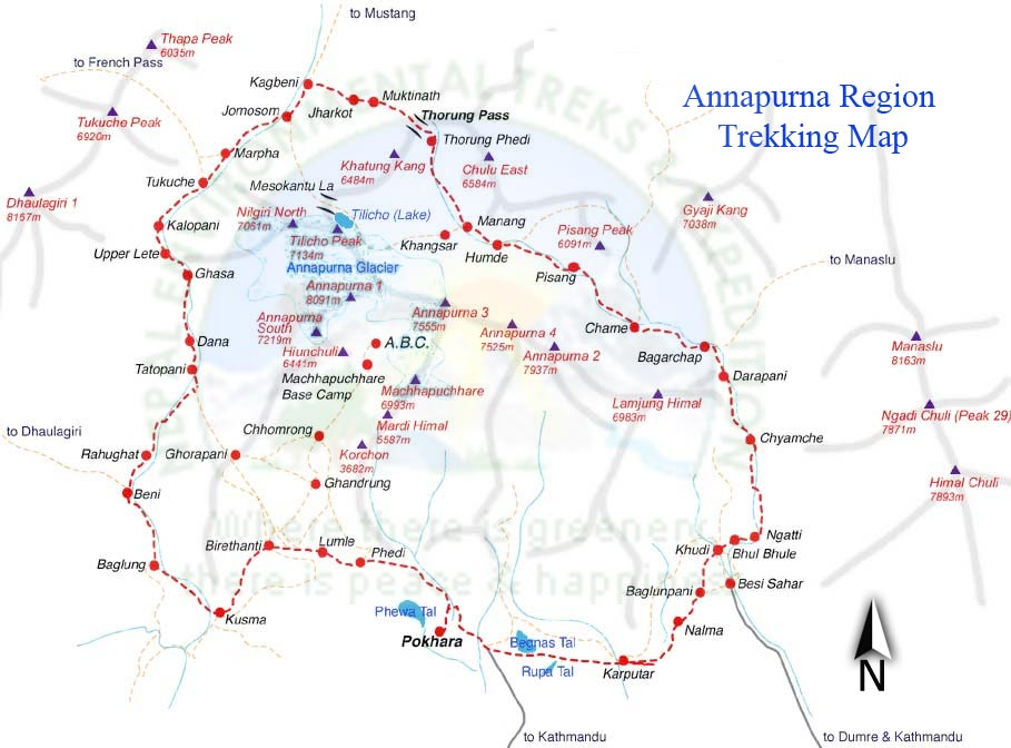 Upper Mustang Trek via Ananpurna Circuit Map