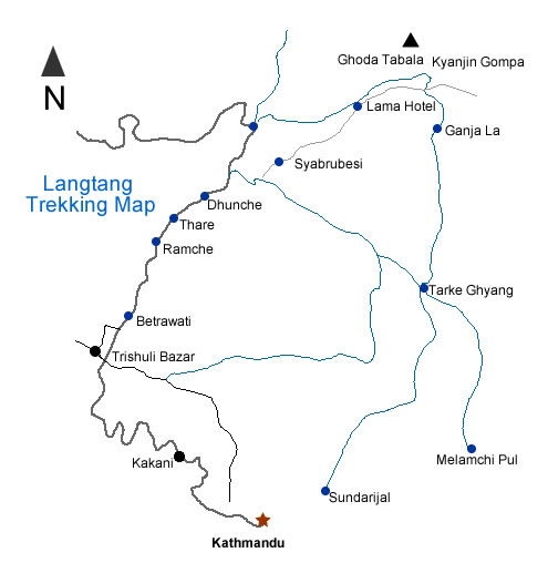 Gosainkunda Frozen Lake Trek Map