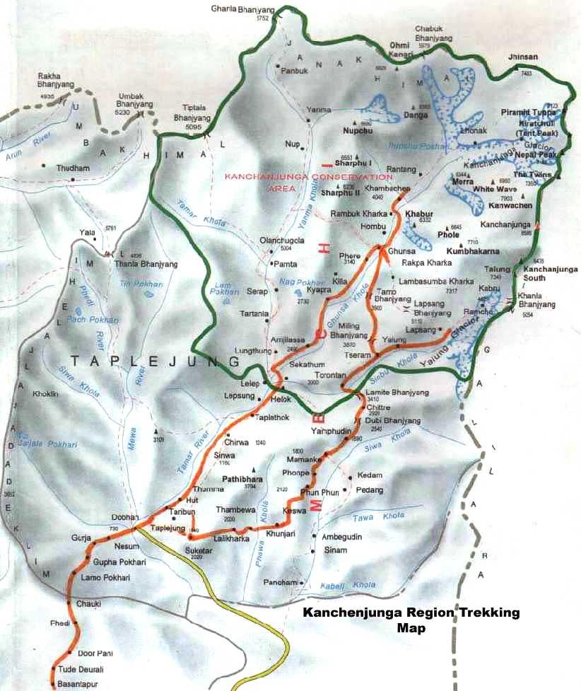 Kanchenjunga North Base Camp Trek  Map
