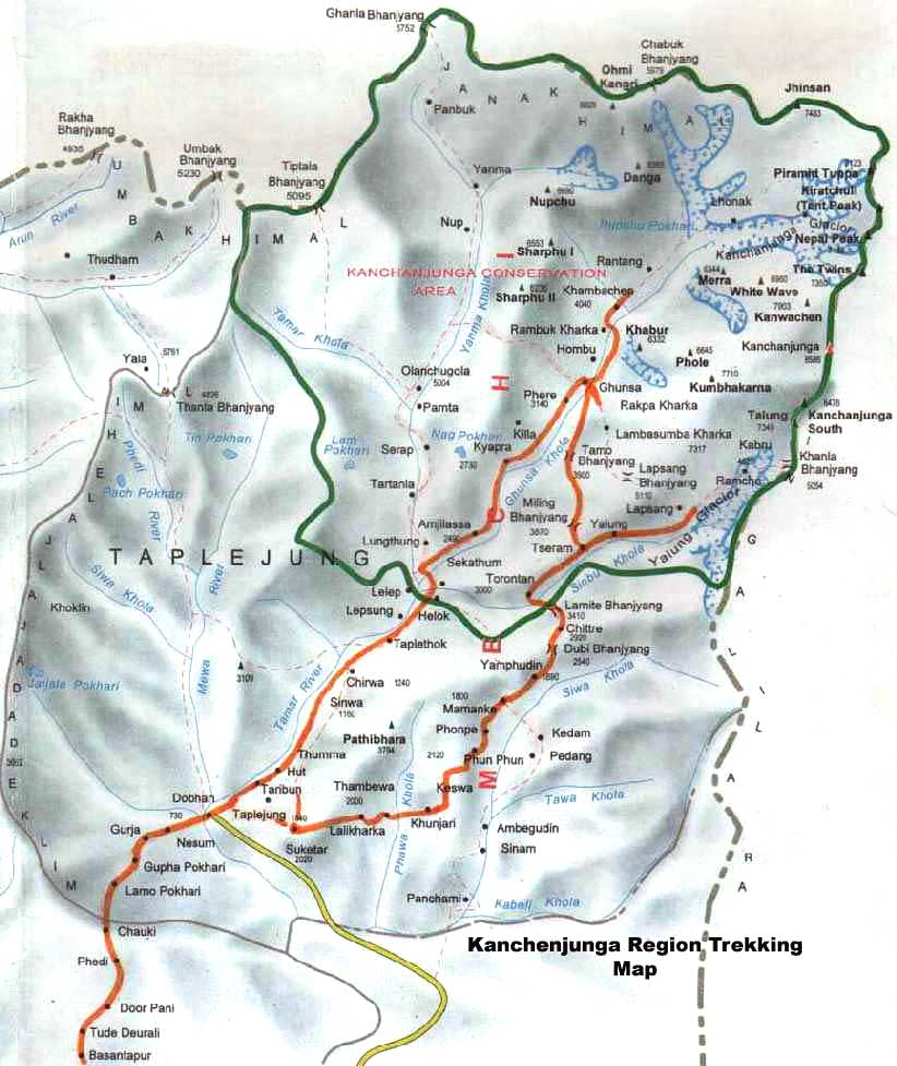 Kanchenjunga South Base Camp Trek Map