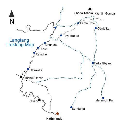 Langtang - Gosaikunda - Helambu Trek Map