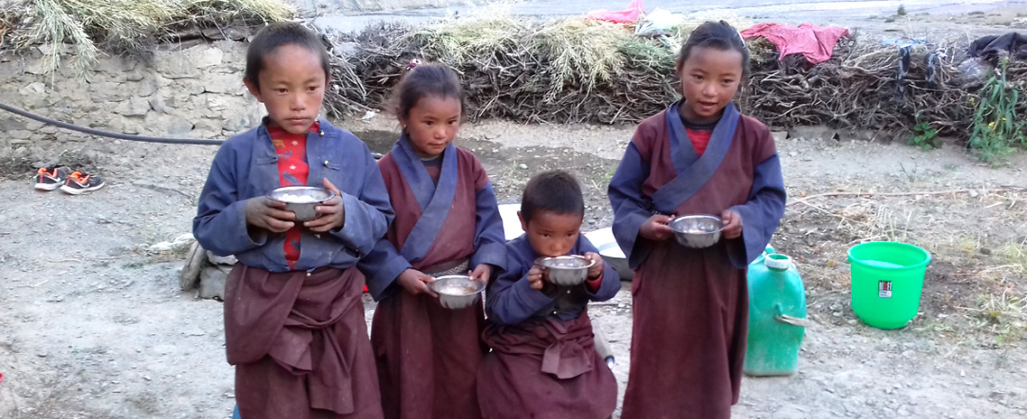 Children from Dolpo enjoying their soup