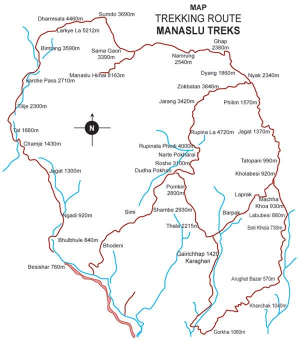 Tsum valley - Manaslu Combine Trek Map